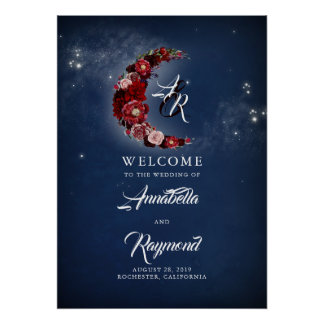 Navy Blue and Burgundy Starry Wedding Welcome Sign