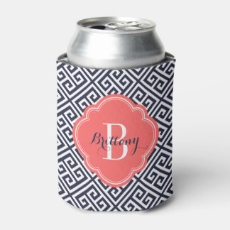 Navy Blue and Coral Greek Key Monogram Can Cooler