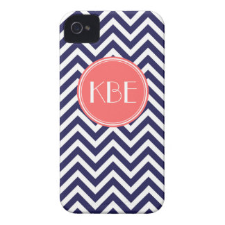 Navy Blue and Coral Modern Chevron Custom Monogram iPhone 4 Covers