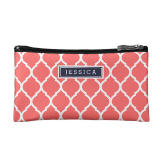 Navy Blue and Coral Moroccan Quatrefoil Monogram Makeup Bags