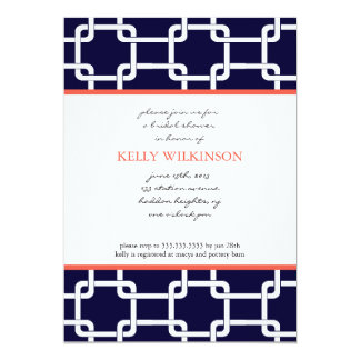 Navy Blue and Coral Preppy Invitation