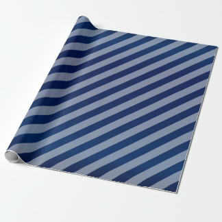 Navy Blue and Diagonal Stripes Wrapping Paper