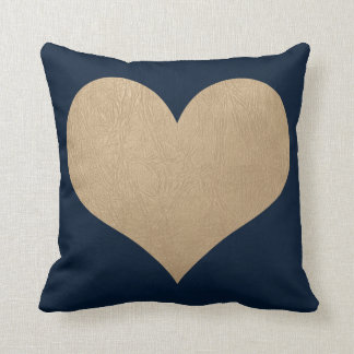 navy blue and faux gold leather heart throw pillow