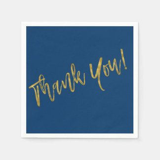 Navy Blue and Faux Gold Thank You Paper Napkins