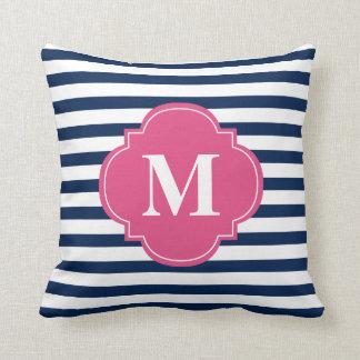 Navy Blue and Fuchsia Stripes Monogram Throw Pillow