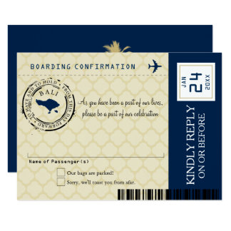 Navy Blue and Gold Bali Wedding RSVP Card