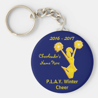 Navy Blue and Gold Cheer Keychains with Your Text