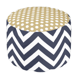 Navy Blue and Gold Chevron and Polkadots Pouf