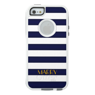 Navy Blue and Gold Classic Stripes Monogram OtterBox iPhone 5/5s/SE Case