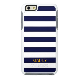 Navy Blue and Gold Classic Stripes Monogram OtterBox iPhone 6/6s Plus Case
