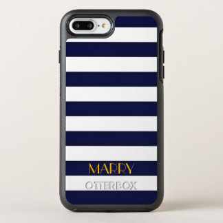 Navy Blue and Gold Classic Stripes Monogram OtterBox Symmetry iPhone 7 Plus Case