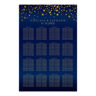 Navy Blue and Gold Confetti Dots  16 Seating Chart