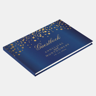 Navy Blue and Gold Confetti Dots Guest Book