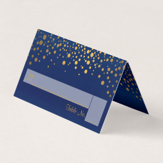 Navy Blue and Gold Confetti | Place Cards