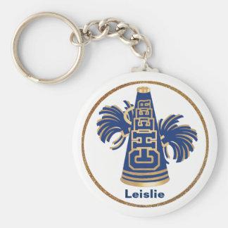 Navy Blue and Gold Custom Cheerleader KeyChain
