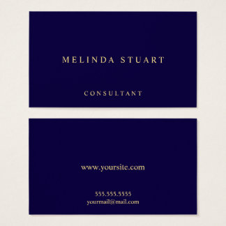 Navy Blue and Gold Elegant Business Card