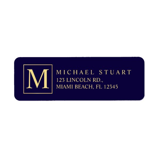 Navy Blue and Gold Elegant Monogram Return Address Label