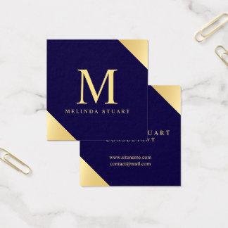 Navy Blue and Gold Elegant Monogram Square Business Card
