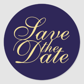 Navy Blue and Gold Elegant Wedding Save the Date Classic Round Sticker