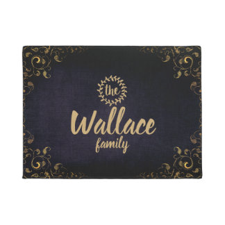 Navy Blue and Gold Family Name Door Mat