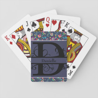 Navy Blue and Gold Floral Chintz Monogram D Playing Cards