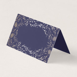 Navy Blue and Gold Floral Watercolor Vintage Place Card