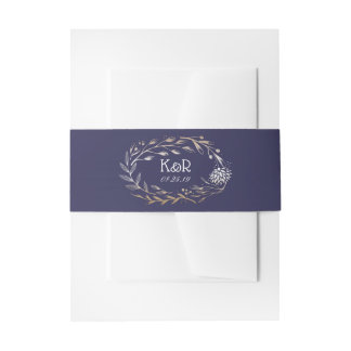Navy Blue and Gold Floral Wreath Wedding Invitation Belly Band