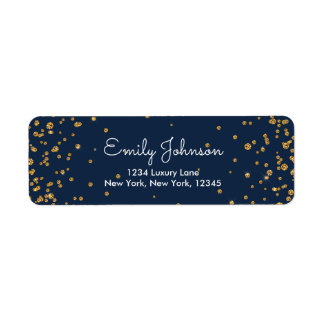 Navy Blue and Gold Foil Confetti Birthday