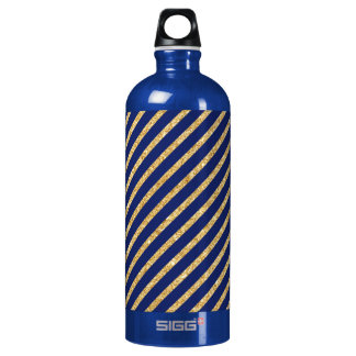 Navy Blue and Gold Glitter Diagonal Stripe Pattern