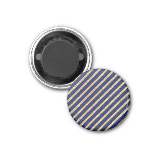 Navy Blue and Gold Glitter Diagonal Stripe Pattern 1 Inch Round Magnet