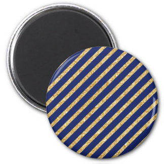 Navy Blue and Gold Glitter Diagonal Stripe Pattern 2 Inch Round Magnet