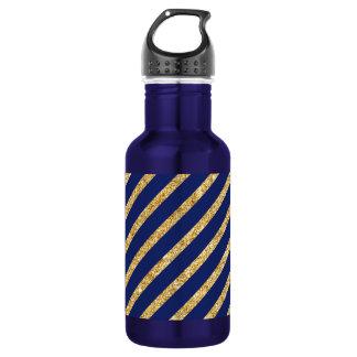 Navy Blue and Gold Glitter Diagonal Stripe Pattern 532 Ml Water Bottle