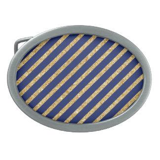 Navy Blue and Gold Glitter Diagonal Stripe Pattern Belt Buckles