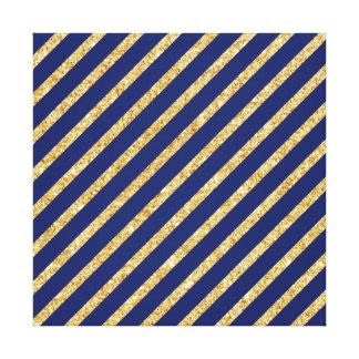 Navy Blue and Gold Glitter Diagonal Stripe Pattern Canvas Print