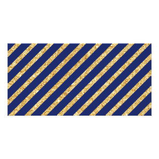 Navy Blue and Gold Glitter Diagonal Stripe Pattern Card