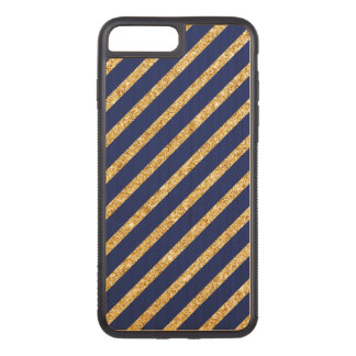Navy Blue and Gold Glitter Diagonal Stripe Pattern Carved iPhone 8 Plus/7 Plus Case