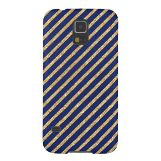 Navy Blue and Gold Glitter Diagonal Stripe Pattern Cases For Galaxy S5