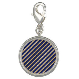 Navy Blue and Gold Glitter Diagonal Stripe Pattern Charms