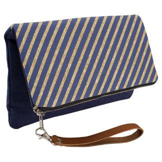 Navy Blue and Gold Glitter Diagonal Stripe Pattern Clutch