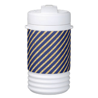 Navy Blue and Gold Glitter Diagonal Stripe Pattern Cooler