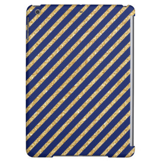 Navy Blue and Gold Glitter Diagonal Stripe Pattern Cover For iPad Air