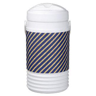 Navy Blue and Gold Glitter Diagonal Stripe Pattern Drinks Cooler