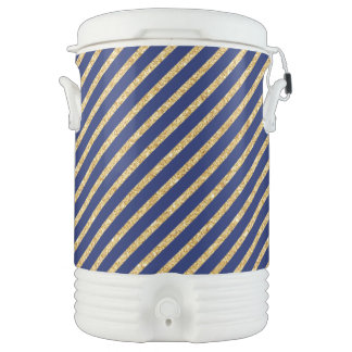 Navy Blue and Gold Glitter Diagonal Stripe Pattern Drinks Cooler