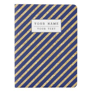 Navy Blue and Gold Glitter Diagonal Stripe Pattern Extra Large Moleskine Notebook