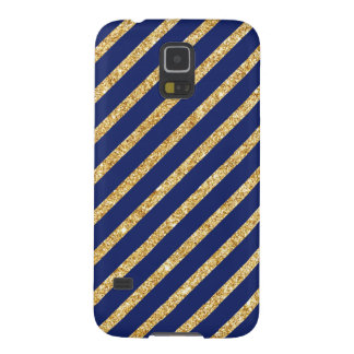 Navy Blue and Gold Glitter Diagonal Stripe Pattern Galaxy S5 Cases