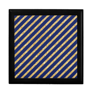 Navy Blue and Gold Glitter Diagonal Stripe Pattern Gift Box
