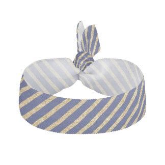 Navy Blue and Gold Glitter Diagonal Stripe Pattern Hair Tie