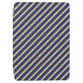 Navy Blue and Gold Glitter Diagonal Stripe Pattern iPad Air Cover