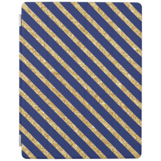 Navy Blue and Gold Glitter Diagonal Stripe Pattern iPad Cover