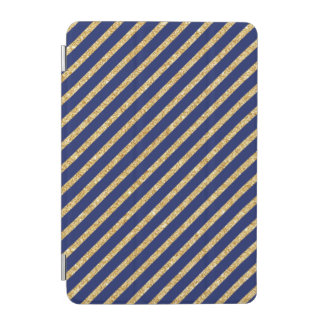 Navy Blue and Gold Glitter Diagonal Stripe Pattern iPad Mini Cover